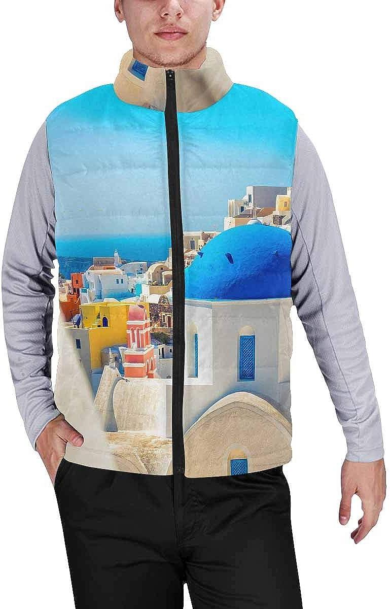 InterestPrint Winter Lightweight Personality Design Padded Vest for Men Santa Claus, Snowman, Reindeer