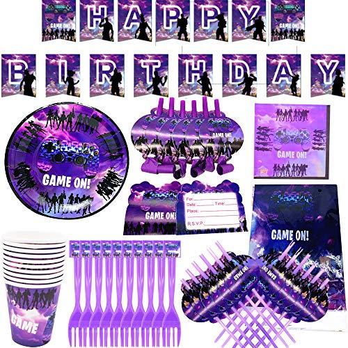 BAIBEI Gioco Compleanno Game Forniture per Feste di Gioco Bambini Compleanno Piatti per Feste USA e Getta Tazze Tovaglioli Tovaglia Carta Banner- Servire 10 Ospiti