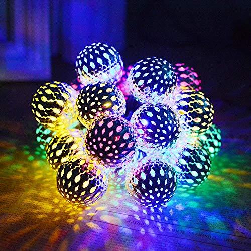 SILOLA Luces solares de Cuerda al Aire Libre, 6.35M 30LED Luces marroquíes de Cuerda Solar Luces Decorativas de Cuerda de orbe marroquí para Patio, balcón, Boda, Bricolaje