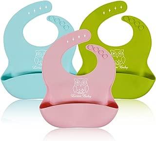 Lictin 3 Pack baberos suave de silicona impermeables para bebés pequeños (rosa/azul/verde de limón)