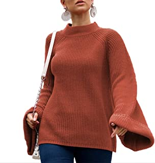 MOLFROA Women's Loose Flare Sleeve Crew Neck Chunky Knit Tunic Oversized Sweaters