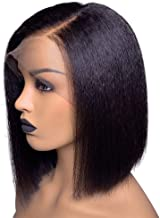 Fenjun Hair 13x6 Lace Frontal Yaki Straight Human Hair Wig with Baby Hair 10 Inch Short Bob Wigs for Women 130% Density 13x6 Lace Front Wigs Human Hair Pre plucked Frontal Straight Hair Natural Color