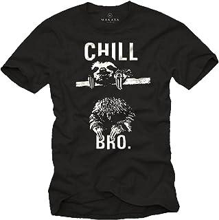 MAKAYA Camisetas chulas Hombre - Perezoso - Chill Bro.