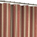 burgundy red and beige yellow stripe shower curtain