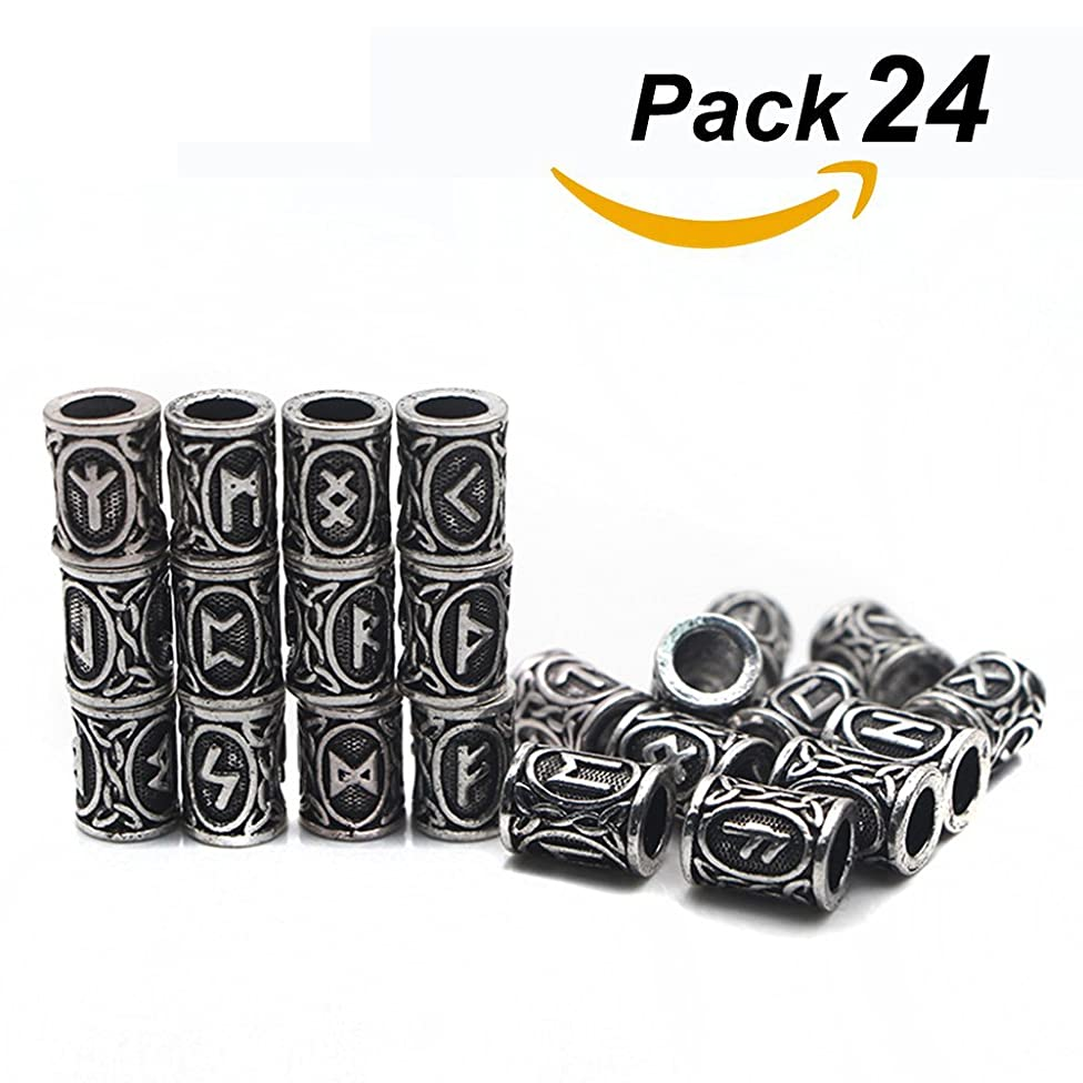 QZY 24 Piece Viking Runes Charms Beads Findings for Bracelets for Pendant Necklace Rune Kits,Silver
