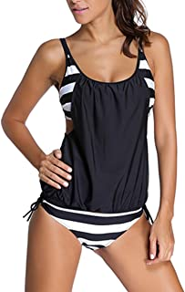 51926d5053 Sidefeel Women Push Up Tankini with Panty Two Pieces Swimsuit Set