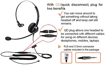 Phone Headset for Cisco IP Phone with Noise Cancelling Microphone, Call Center Headset with RJ9 Jack Plus 3.5mm Conne...