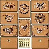 144 Stück Dankeskarten, Ohuhu Braune Papier Dankeskarte Grußkarten mit Umschlag,Klappkarten Dankekarten für Thanksgiving Day, Grüße, Geschenk, Abschlüsse,10X15 cm