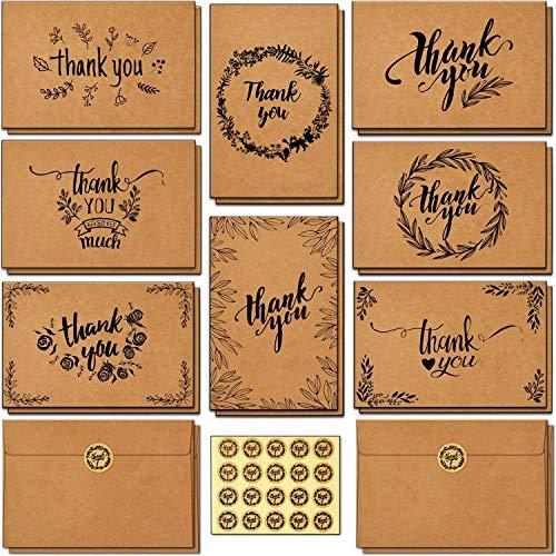 Dankeskarten, Ohuhu 144 Stück Braune Papier Dankeskarte Grußkarten mit Umschlag,Klappkarten Dankekarten für Thanksgiving Day, Grüße, Geschenk, Abschlüsse,10X15 cm
