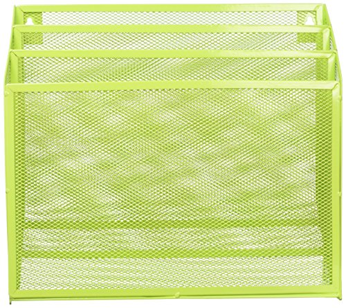 Honey-Can-Do OFC-04875 Mesh Vertical File Sorter, 3.6 x 12.6 x 11.5, Lime