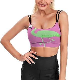 Cyloten Women's Sport Tank Top Green Flamingo Bird Crane Sports Bra Yoga Longline Crop Top -