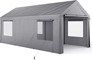 Carport, 10x20ft Heavy Duty Carport with Removable Sidewalls & Doors, Portable Garage for Auto, Boat & Market stall, Car T...