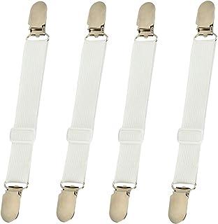 BBDOU Bed Sheet Clips Straps Sheet Holder Mattress Clips, 4 Pcs Adjustable Elastic Bed..