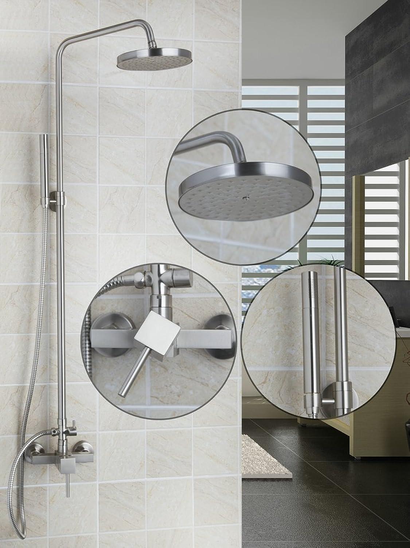 Luxurious shower Neue OUBONI Regendusche Zapfhhne Nickel gebürstet Wanne Dusche Armaturen Mischer & Armaturen Badezimmer 8 Duschkopf Badezimmer Zubehr, Hellgrau