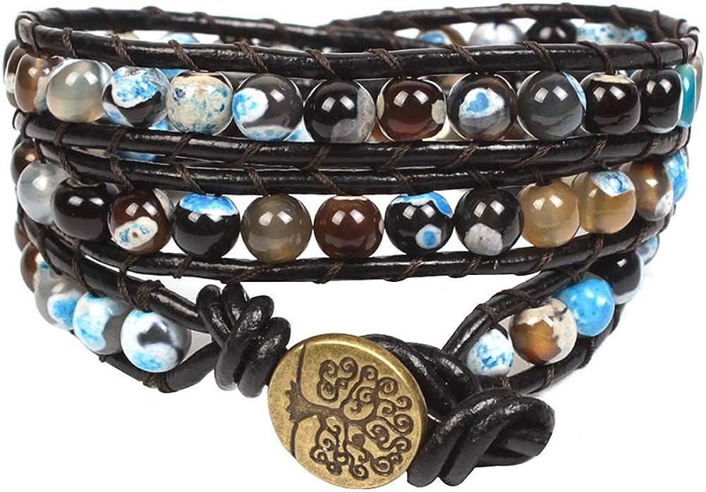Bonnie 3 Wrap Agate Leather Bracelets Handmade Boho Bead Bangle Bracelet Gemstone Prayer Bracelet for Men Women Girls