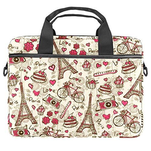TIZORAX Laptoptasche Paris Tower Fahrrad Kuchen Notebook Sleeve mit Griff 38,1 - 39,1 cm Tragetasche Schultertasche Aktentasche