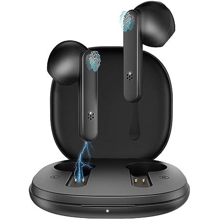 GAMURRY Auriculares inalámbricos, Auriculares Bluetooth con micrófono dual Auriculares inalámbricos, Auriculares con tiempo de ejecución de 20 horas con estuche de carga USB-C portátil, Control táctil inteligente