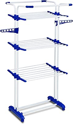 PARASNATH Stainless Steel 3 Poll Clothes Drying Stand with Breaking Wheel System (Blue)