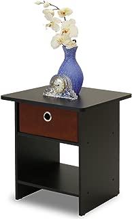 Furinno 10004EX/BR Dario End Table/Night Stand Storage Shelf, 1-Pack, Espresso/Brown