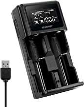 Tenergy TN471U 2-Bay Universal Battery Charger with LCD for Li-ion/NiMH Rechargeable Batteries, Micro USB Input, Portable Charger for Batteries Sizes 18650, 16340, 26650, AA, AAA, and More