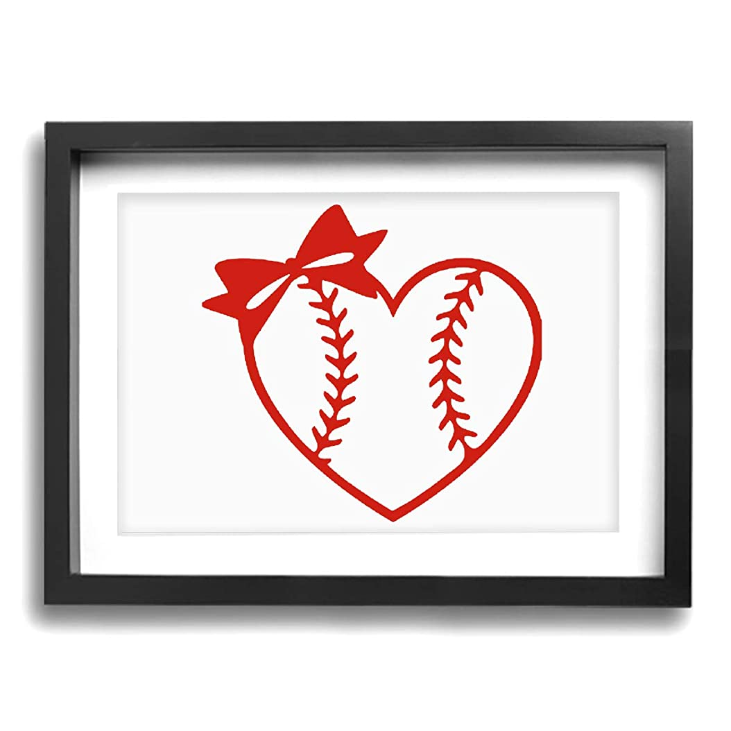 避難ぜいたく最初は野球 ソフトボールハート ハート 好き30*40cm フレーム綺麗キャンバス絵画壁アート