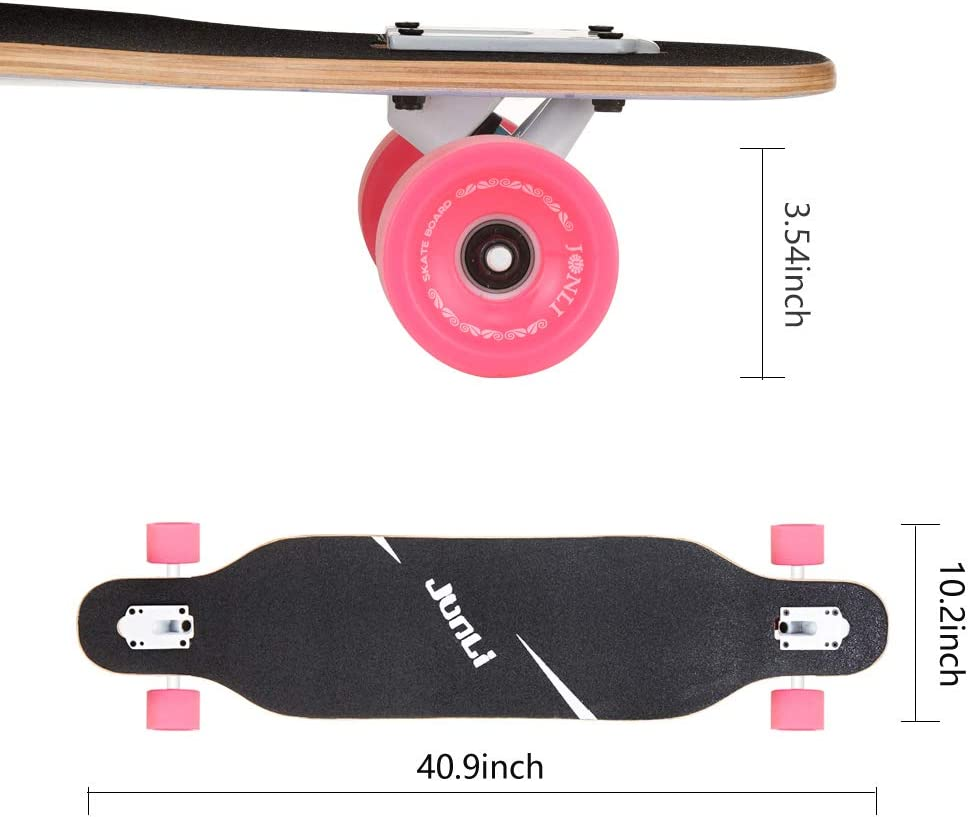 Free-Style and Downhill Carving Junli 41 Inch Freeride Skateboard Longboard Complete Skateboard Cruiser for Cruising