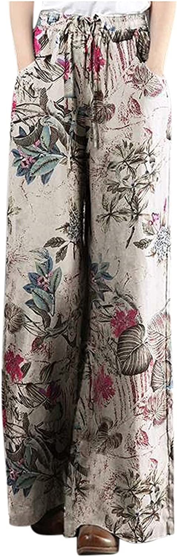 Bikegna Bombing new Free shipping on posting reviews work Women Plus Size Floral Linen Print Tightness Cotton Trou