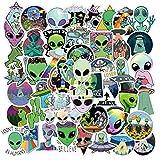 BLOUR 50 Uds nuevos Extraterrestres Pegatinas de Dibujos Animados de ovnis DIY monopatín Nevera teléfono Guitarra portátil Motocicleta Equipaje clásico Juguete calcomanía Pegatinas