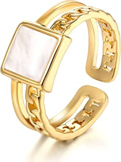 okokiss Womens Rings Open Adjustable Minimalistic Statement Rings Gold Plated Cubic Zirconia Promise Rings for Her Stackab...