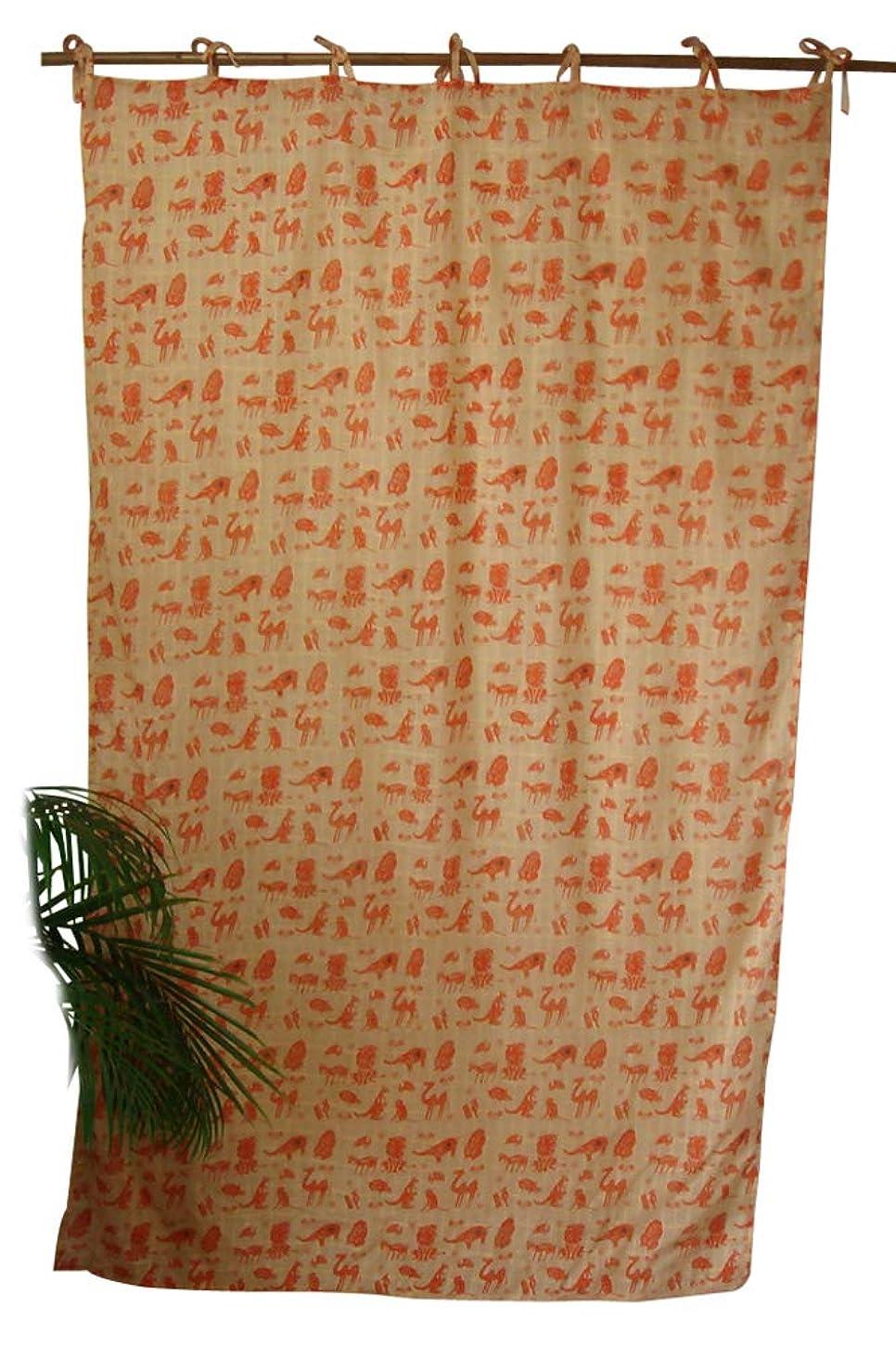 一般化するコンプリートファンカーテン 間仕切り インド綿 チェックアニマル 白×オレンジ e_curtain_072