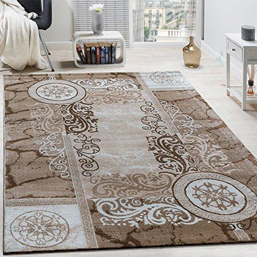 Paco Home Designer Teppich Modern Meliert Floral mit Mäander Muster Kreise Beige Creme, Grösse:160x220 cm