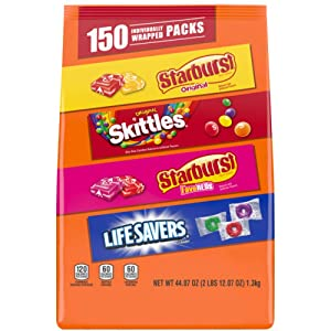 Wrigley Variety Skittles, Starburst & Life Savers Fun Size Chewy Candy, Assorted, 44.07 Oz, 150 Piece