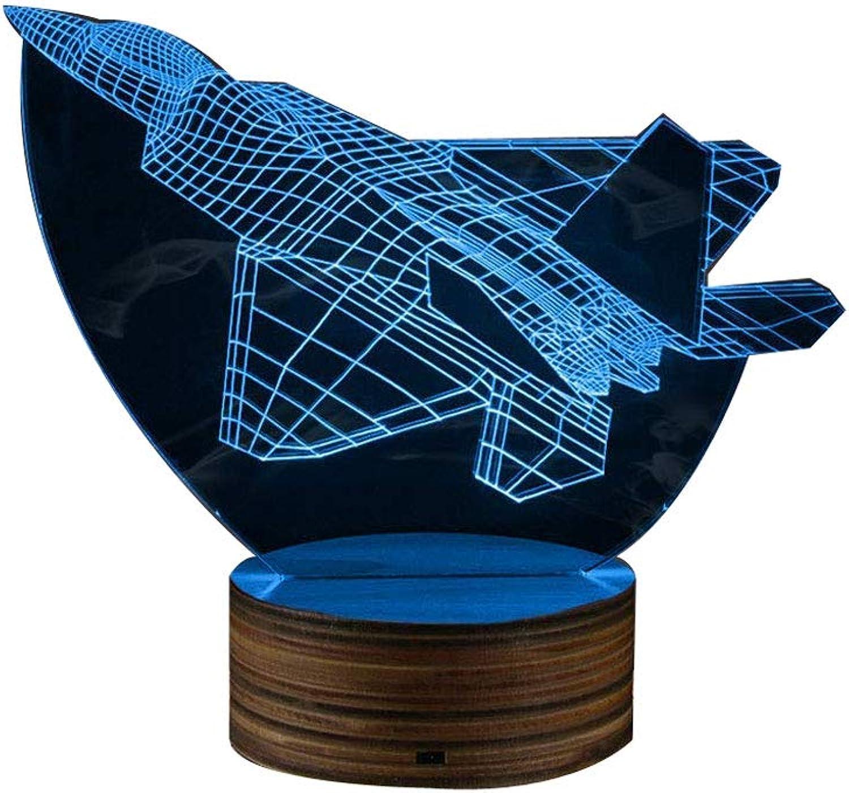 ZHJXQD 3D dekoratives Nachtlicht Flugzeugmodell Kreatives Nachtlicht, Spielzeug 3D LED Optische Tuschung Tisch Schreibtischlampe mit Fernbedienung Emotionales Nachtlicht