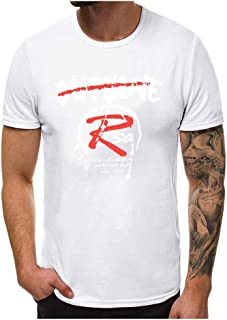 POQOQ Tees T-Shirt Men's Fashion Printing Short Sleeve Top Blouse