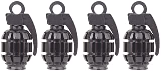 TOMALL Tire Valve Caps Hand-Grenade Style for Car Motorcycle Bicycle Aluminum Alloy Tyre Valve Air Caps (4pcs Black)