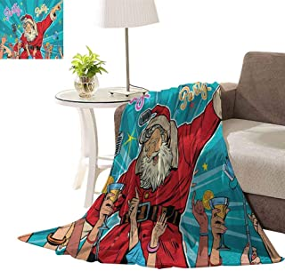 williamsdecor Luxury Collection Microplush Flannel Fleece Blanket, Rock n Roll Xmas Party Pattern Design Blanket Blanket for Sofa Couch Bed, 30x40 Inch