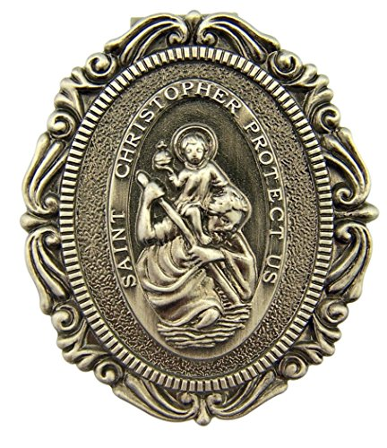 DTC Pewter Saint St Christopher Protect Us Visor Clip, 2 Inch