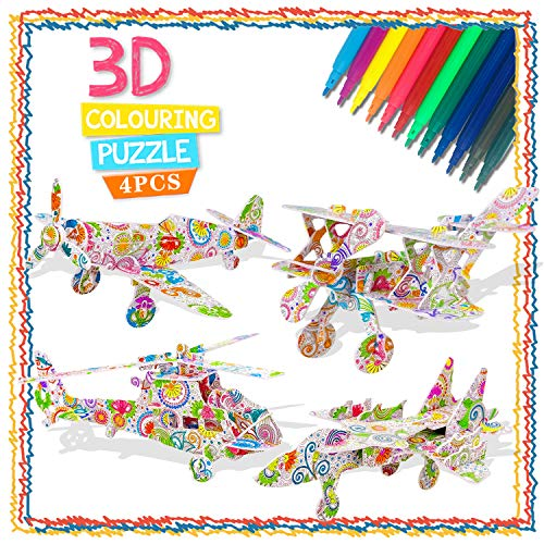 DIY Arts and Crafts Kit for Girls Kids, 3D Painting Coloring Puzzle Set for Girl Child Age 6-10 Children 3D Puzzle for Kids 5-9 Gift for 5-12 Year Old Boys Art Supplies Gift for 4-11 Year Old Toddlers