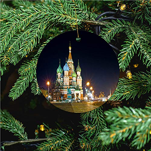 aosup Red Square Saint/Christmas Ornaments 2020 Christmas Ceramic Pendant Personalized Creative Christmas Decorations Double Sided Christmas Tree Ornament №SW106401