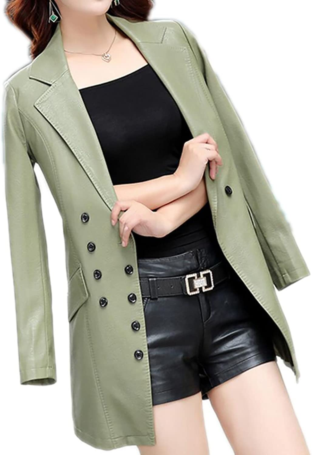 SHOWNOWomen Slim Fit Double Breasted Turn Down Collar Faux Leather Blazer Jacket