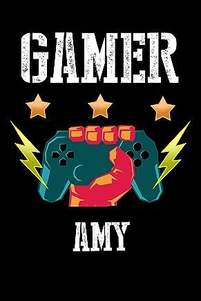 Gamer Amy: Kariertes Notizbuch mit 5x5 Karomuster für deinen personalisierten Vornamen