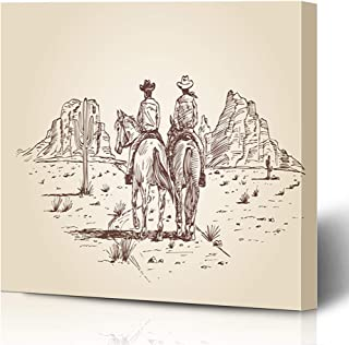 Ahawoso Canvas Prints Wall Art Printing 12x16 Desert Two Cowboys Riding Gun Horses Collection Parks Horseback Sketch Drawing Man West Cactus Old Painting Artwork Home Living Room Office Bedroom Dorm