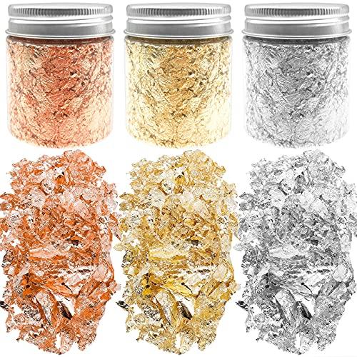 Cisolen 3 Botellas Copos de Lámina Copos de Pan de Oro Copos de Imitación Metálico para Pintura Arte de Resina Decoración de Uñas Adornos Artesanales (Oro, Plata, Oro rosa)