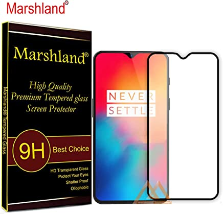 Marshland 6D Full Glue Screen Protector Anti Scratch Bubble Free Crystal Clear Smooth Tempered Glass Compatible for Oneplus 6T / One Plus 6T (Black)