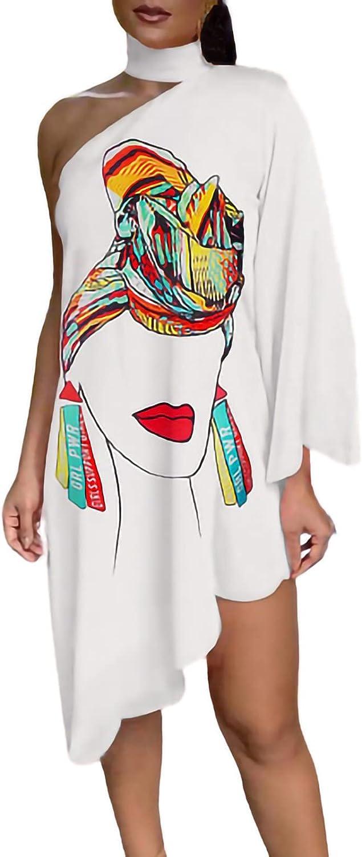 Women Summer Dresses One Shoulder Tunic Dress Lace Up Leopard Graphic Print Party Club Gowns Irregular Beach Sundress