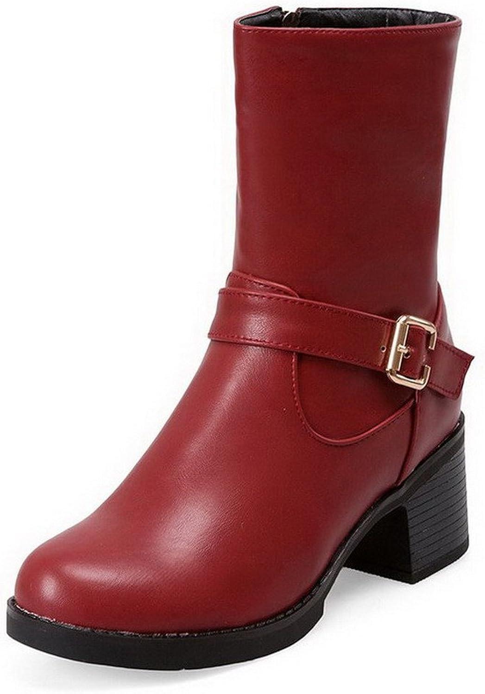 WeiPoot Women's Zipper Round Closed Toe Kitten-Heels PU Low-Top Boots