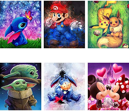 6 Pack Diamond Painting Kits for Adults, Cartoon 5D Full Drill Round Crystal Rhinestone Embroidery Diamond Art Craft Canvas Perfect for Home Wall Deco(Diamond Dotz Embroidery Kit 12x12inch)