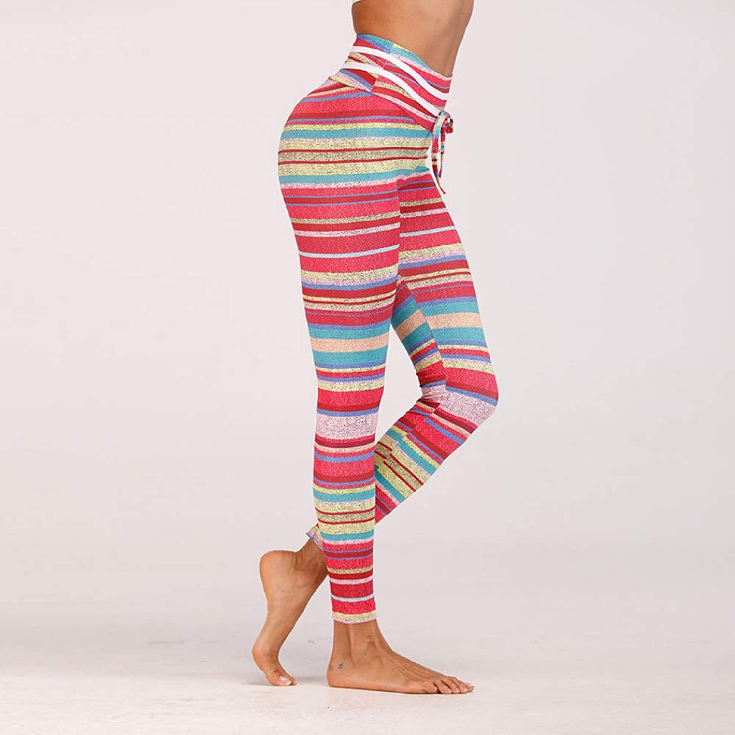 WZXY colorful Stripe Printed Yoga Leggings for Women Sport Pants High Waist Workout Tights Thick Fabric Gym Fitness Gymwear