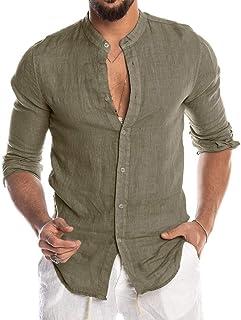 Luckycat Hombre Camisa de Lino sin Cuello Camisa Hombre Cuello Mao Lino Blusa Manga Larga Camisas Top Sin Cuello De Color ...