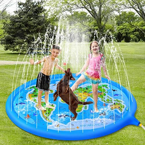 Poesy Splash Pad, Sprinkler Matte Outdoor Splash Spielmatte mit Bildungsspaß, Cool Summer Essential Große Sprinkler Play Matte für Kinder und Familien Outdoor Aktivitäten